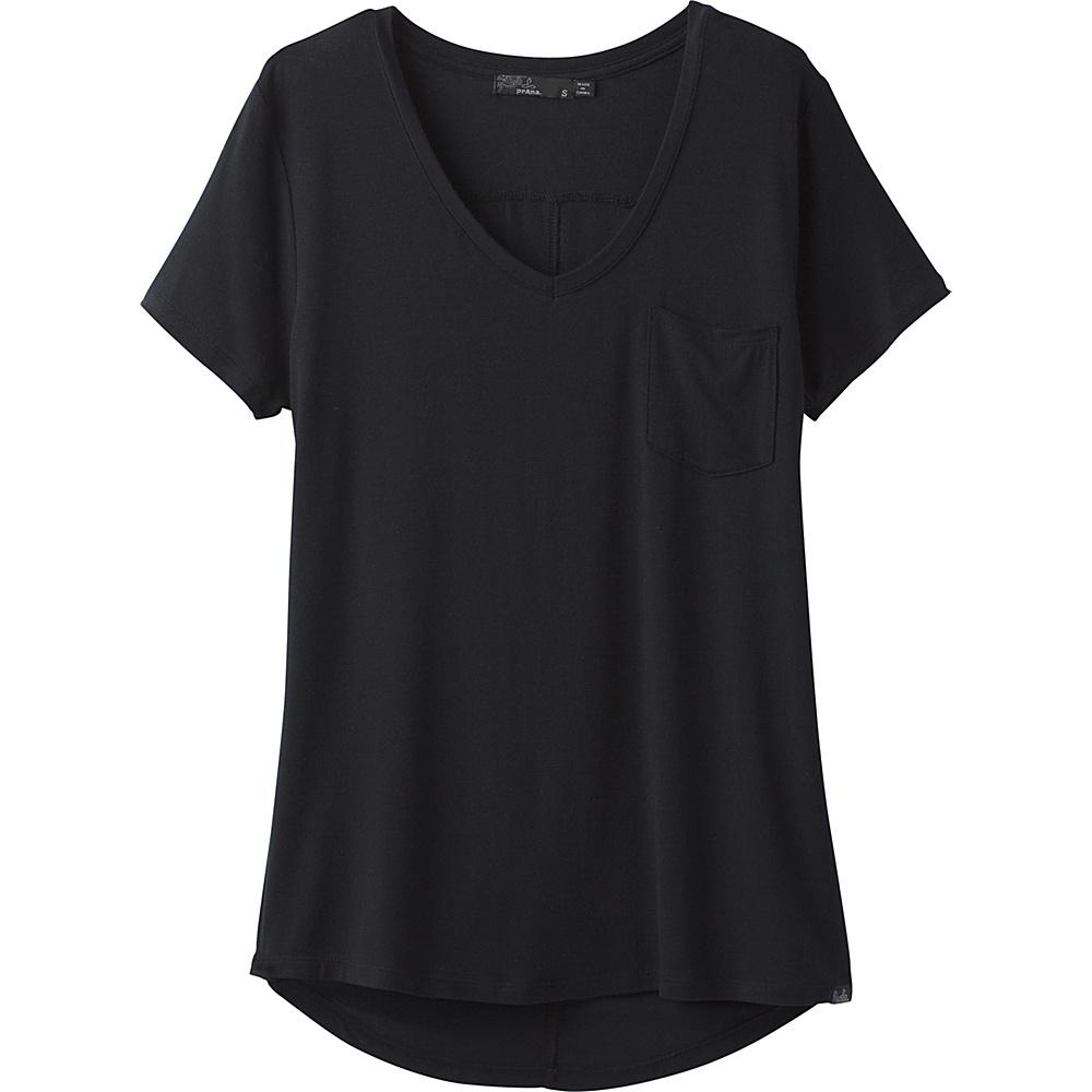 PrAna Foundation Short Sleeve V-Neck Top M - Black - PrAna Womens Apparel - Apparel & Footwear, Women's Apparel