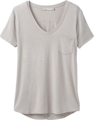 PrAna Foundation Short Sleeve V-Neck Top L - Light Grey Heather - PrAna Women's Apparel