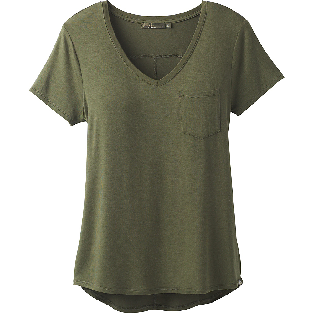 PrAna Foundation Short Sleeve V-Neck Top M - Cargo Green - PrAna Womens Apparel - Apparel & Footwear, Women's Apparel