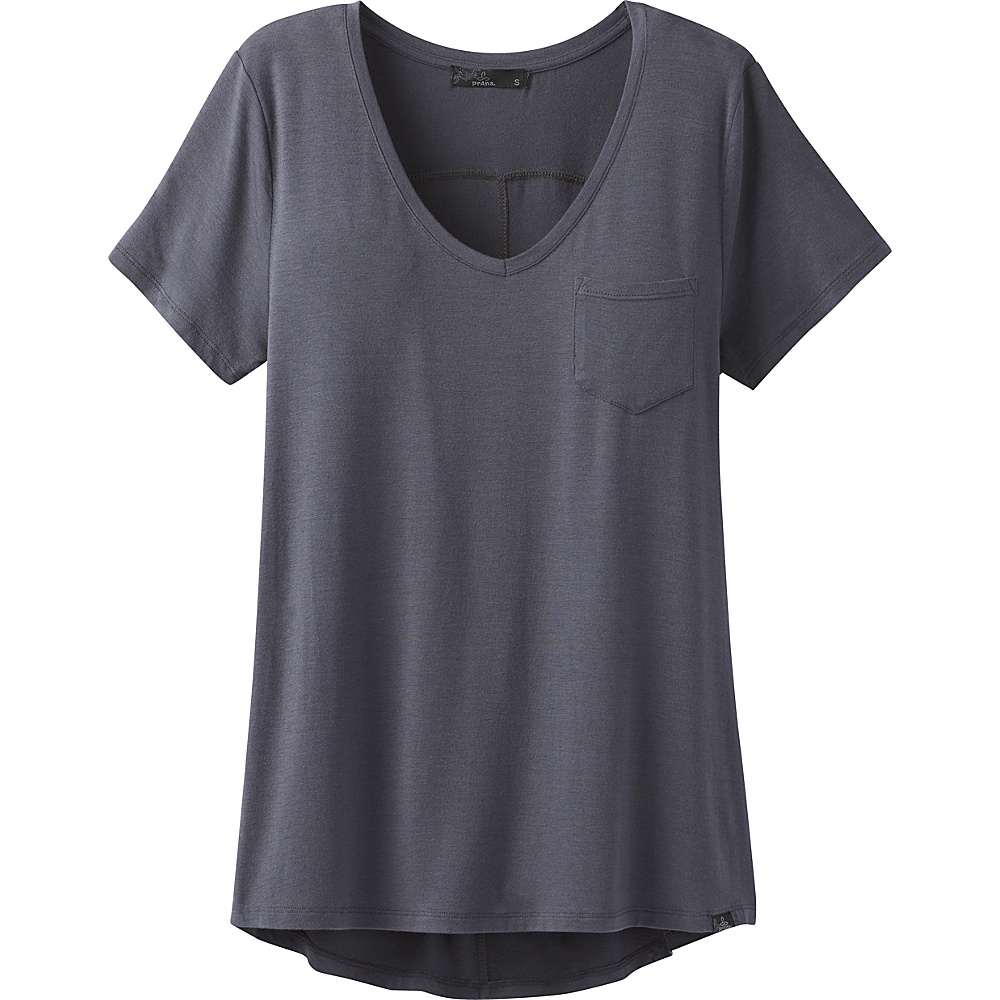 PrAna Foundation Short Sleeve V-Neck Top L - Coal - PrAna Womens Apparel - Apparel & Footwear, Women's Apparel