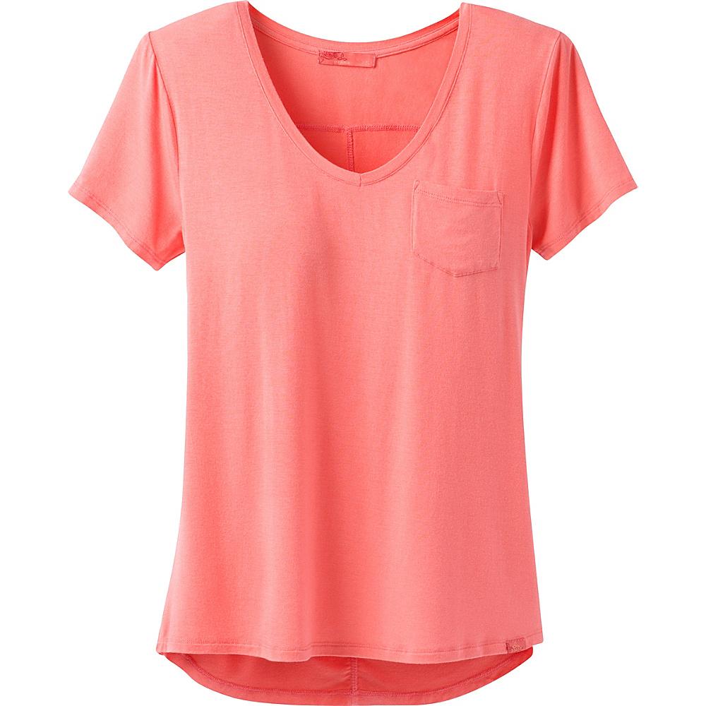 PrAna Foundation Short Sleeve V-Neck Top S - Summer Peach - PrAna Womens Apparel - Apparel & Footwear, Women's Apparel