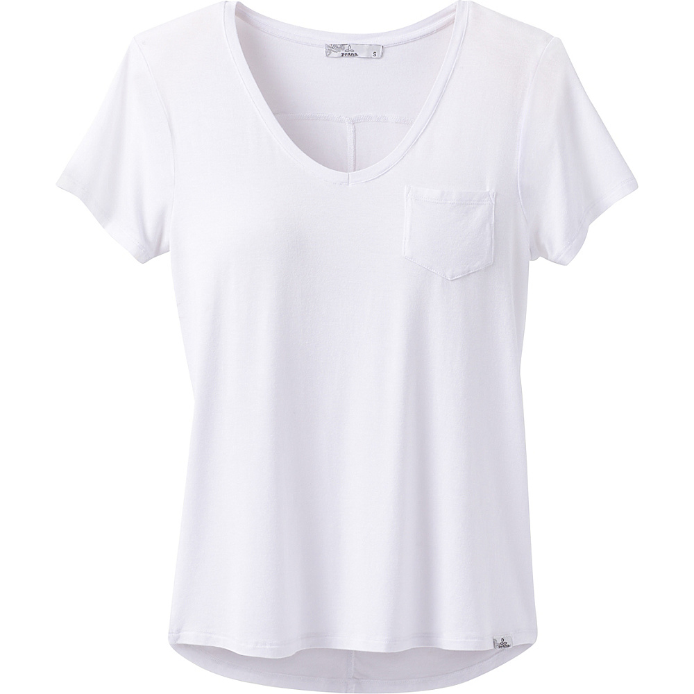 PrAna Foundation Short Sleeve V-Neck Top L - White - PrAna Womens Apparel - Apparel & Footwear, Women's Apparel