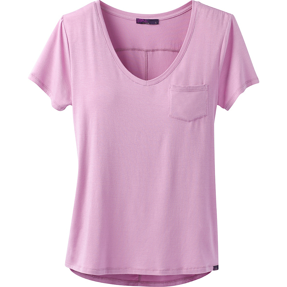 PrAna Foundation Short Sleeve V-Neck Top M - Wild Orchid - PrAna Womens Apparel - Apparel & Footwear, Women's Apparel