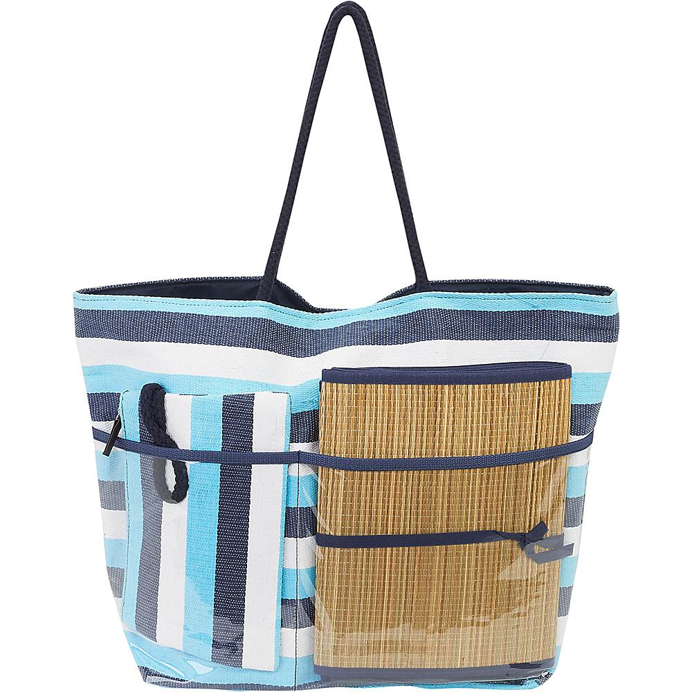 Sun N Sand Beach Bound Beach Canvas Tote Blue Multi - Sun N Sand Fabric Handbags - Handbags, Fabric Handbags