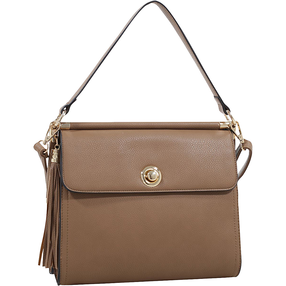 MKF Collection by Mia K. Farrow Peony Oversized Double Compartment Crossbody Stone - MKF Collection by Mia K. Farrow Manmade Handbags - Handbags, Manmade Handbags