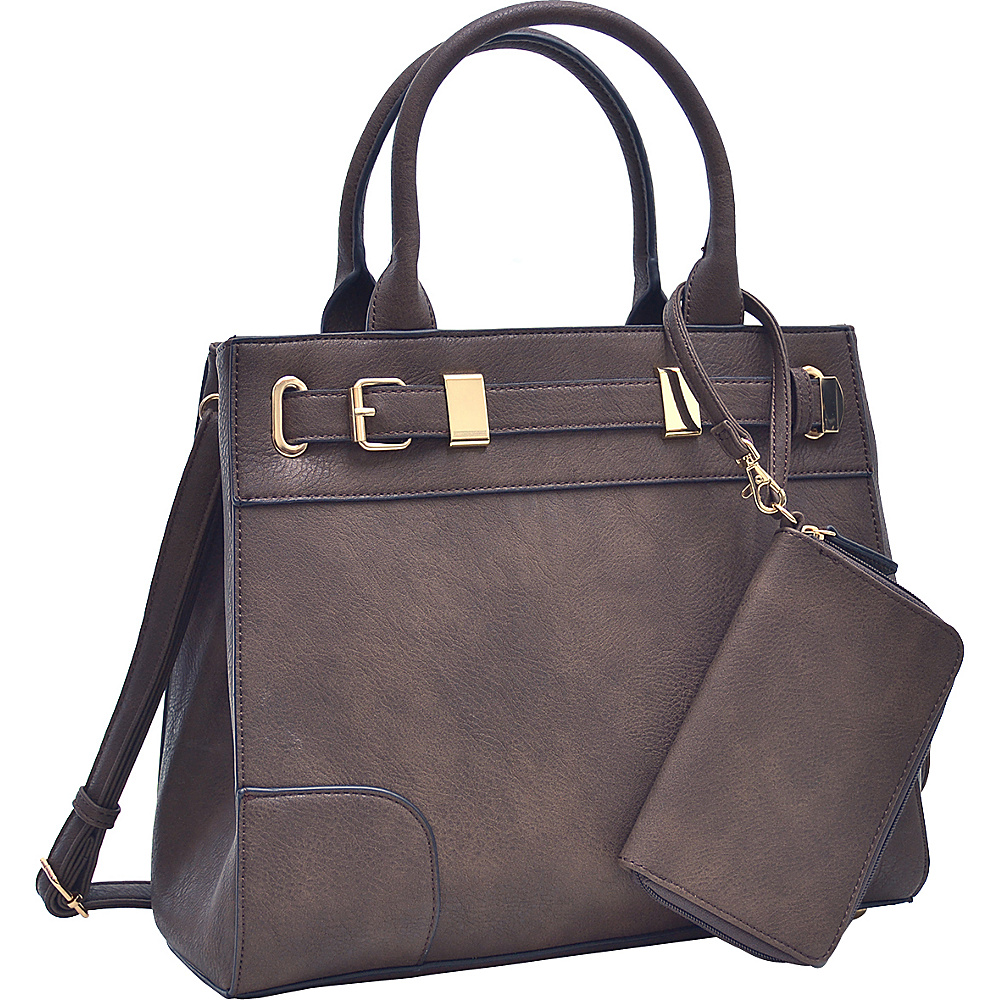 Dasein Medium Satchel and Detachable Matching Wristlet Coffee - Dasein Fabric Handbags - Handbags, Fabric Handbags
