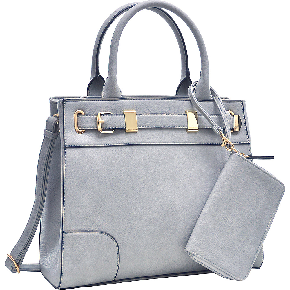 Dasein Medium Satchel and Detachable Matching Wristlet Dark Grey - Dasein Fabric Handbags - Handbags, Fabric Handbags