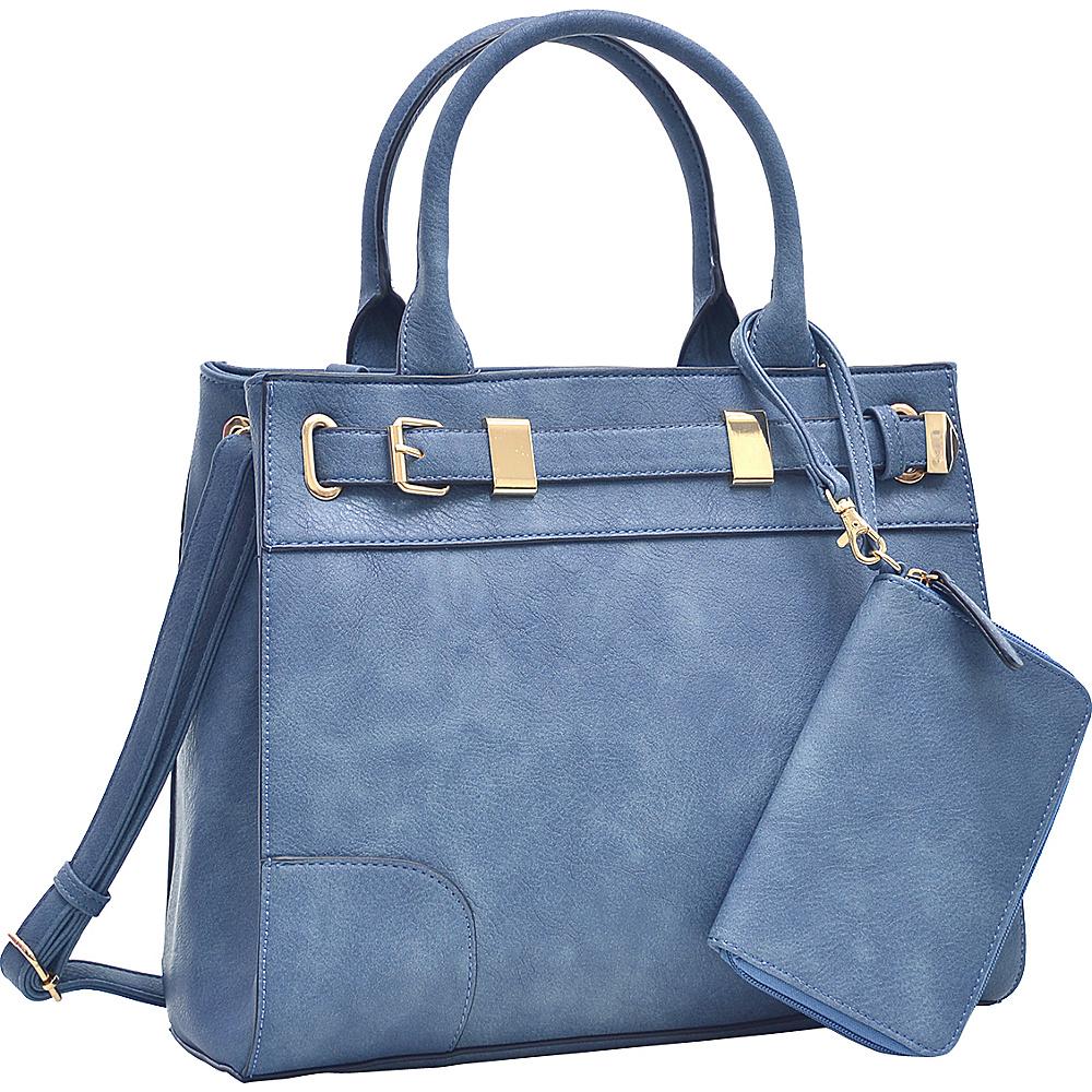 Dasein Medium Satchel and Detachable Matching Wristlet Navy Blue - Dasein Fabric Handbags - Handbags, Fabric Handbags