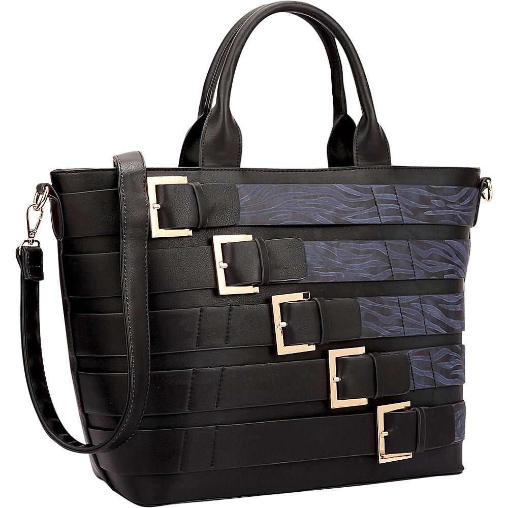 Dasein Medium Tote with Buckle Details Black/Blue - Dasein Leather Handbags - Handbags, Leather Handbags