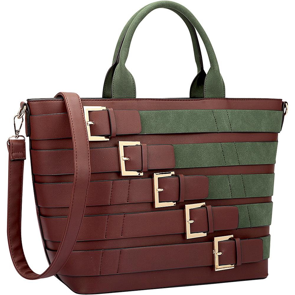 Dasein Medium Tote with Buckle Details Coffee/Dark Green - Dasein Leather Handbags - Handbags, Leather Handbags