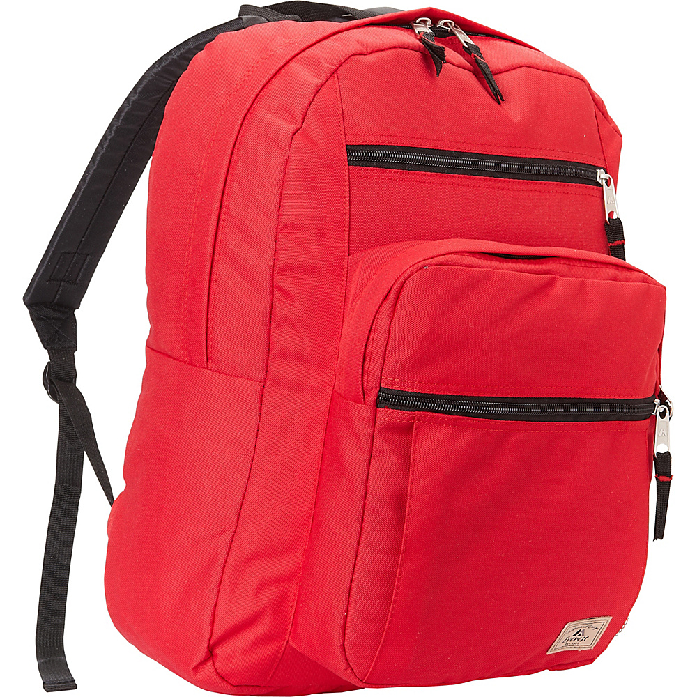Everest Multi-Compartment Daypack with Laptop Pocket Red Embroidered - Everest School & Day Hiking Backpacks - Backpacks, School & Day Hiking Backpacks