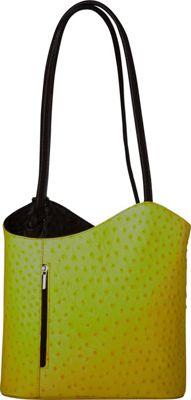 Sharo Leather Bags Two Toned Textured Italian Leather Handbag Yellow/Black - Sharo Leather Bags Leather Handbags