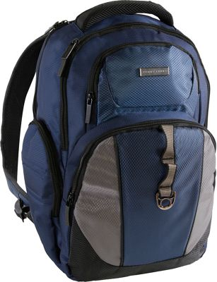 Perry Ellis Business Laptop Backpack with Tablet Pocket Navy - Perry Ellis Laptop Backpacks