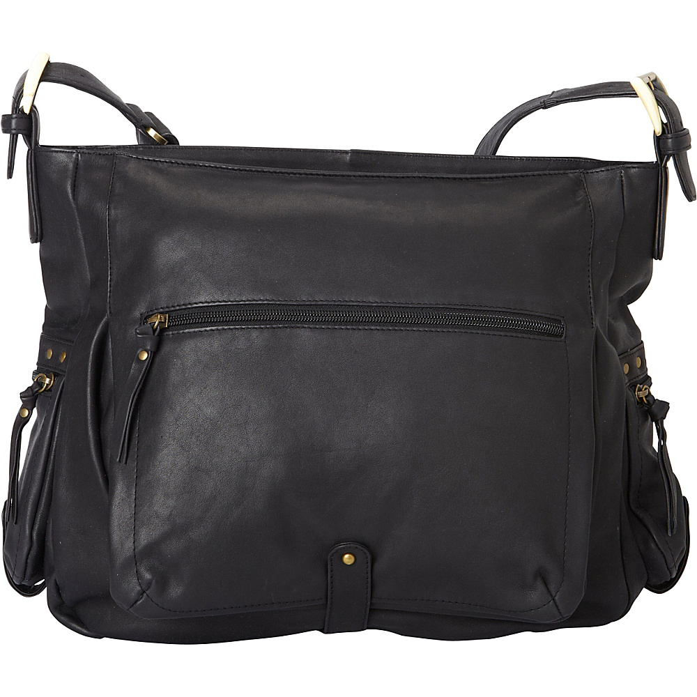 Derek Alexander Large EW Top Zip Shoulder Bag Black - Derek Alexander Leather Handbags - Handbags, Leather Handbags