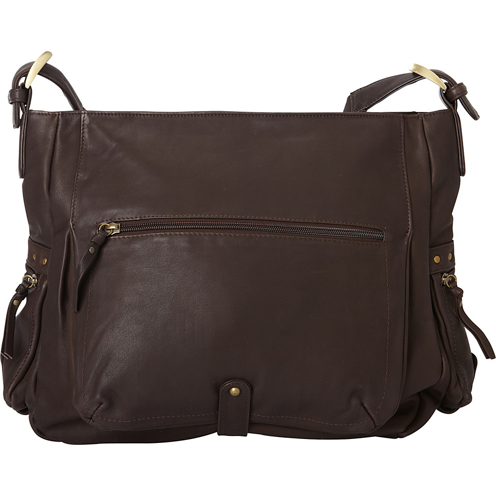 Derek Alexander Large EW Top Zip Shoulder Bag Brown - Derek Alexander Leather Handbags - Handbags, Leather Handbags