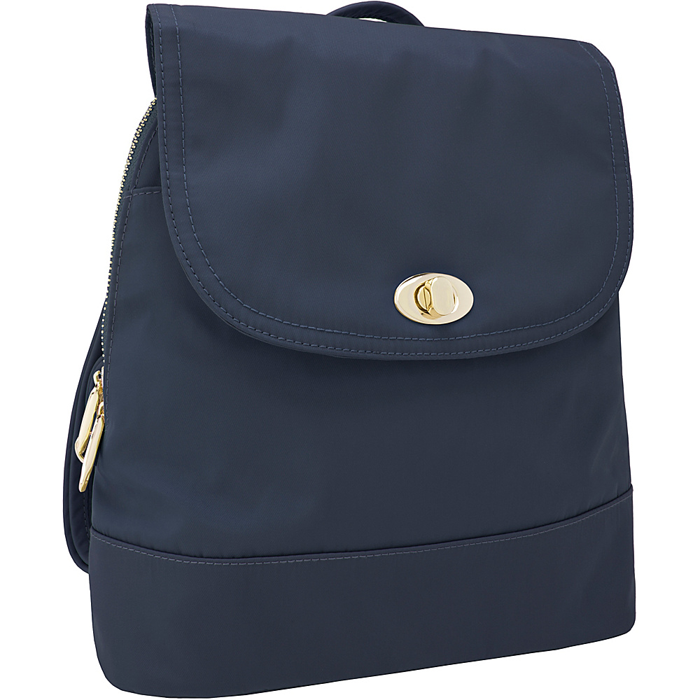Travelon Anti-Theft Tailored Backpack Sapphire/Dove Gray Interior - Travelon Leather Handbags - Handbags, Leather Handbags