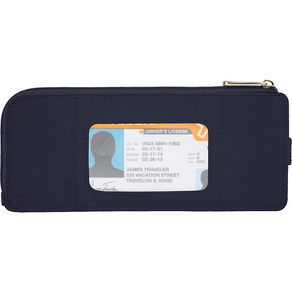 Travelon RFID Anti-Theft Tailored Slim Zip Wallet Sapphire/Dove Gray Interior - Travelon Designer Handbags - Handbags, Designer Handbags
