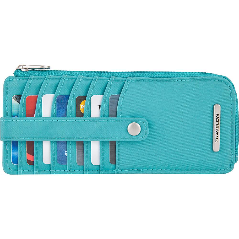 Travelon RFID Anti-Theft Tailored Slim Zip Wallet Aquamarine - Travelon Womens Wallets - Women's SLG, Women's Wallets