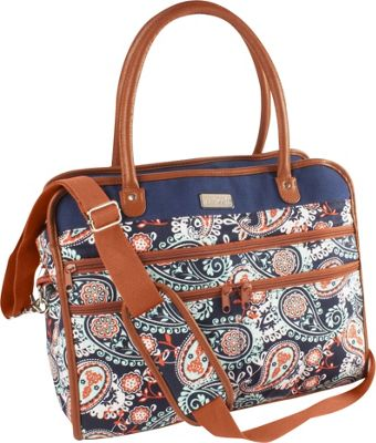 Fit & Fresh Wayfare Travel Bag Navy Orange Paisley - Fit & Fresh Luggage Totes and Satchels