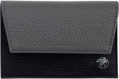 Rapport London Berkeley Leather Credit Card Holder Black & Grey - Rapport London Men's Wallets