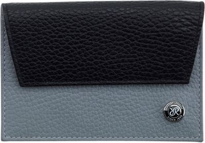Rapport London Berkeley Leather Credit Card Holder Grey & Black - Rapport London Men's Wallets