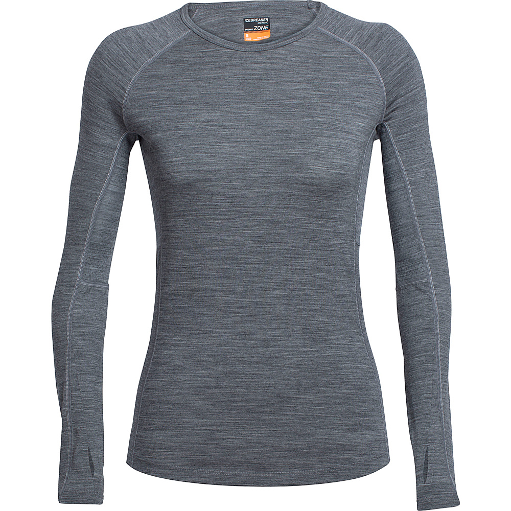 Icebreaker Womens Zone Long Sleeve Crew M - Gritstone Heather/Snow - Icebreaker Womens Apparel - Apparel & Footwear, Women's Apparel