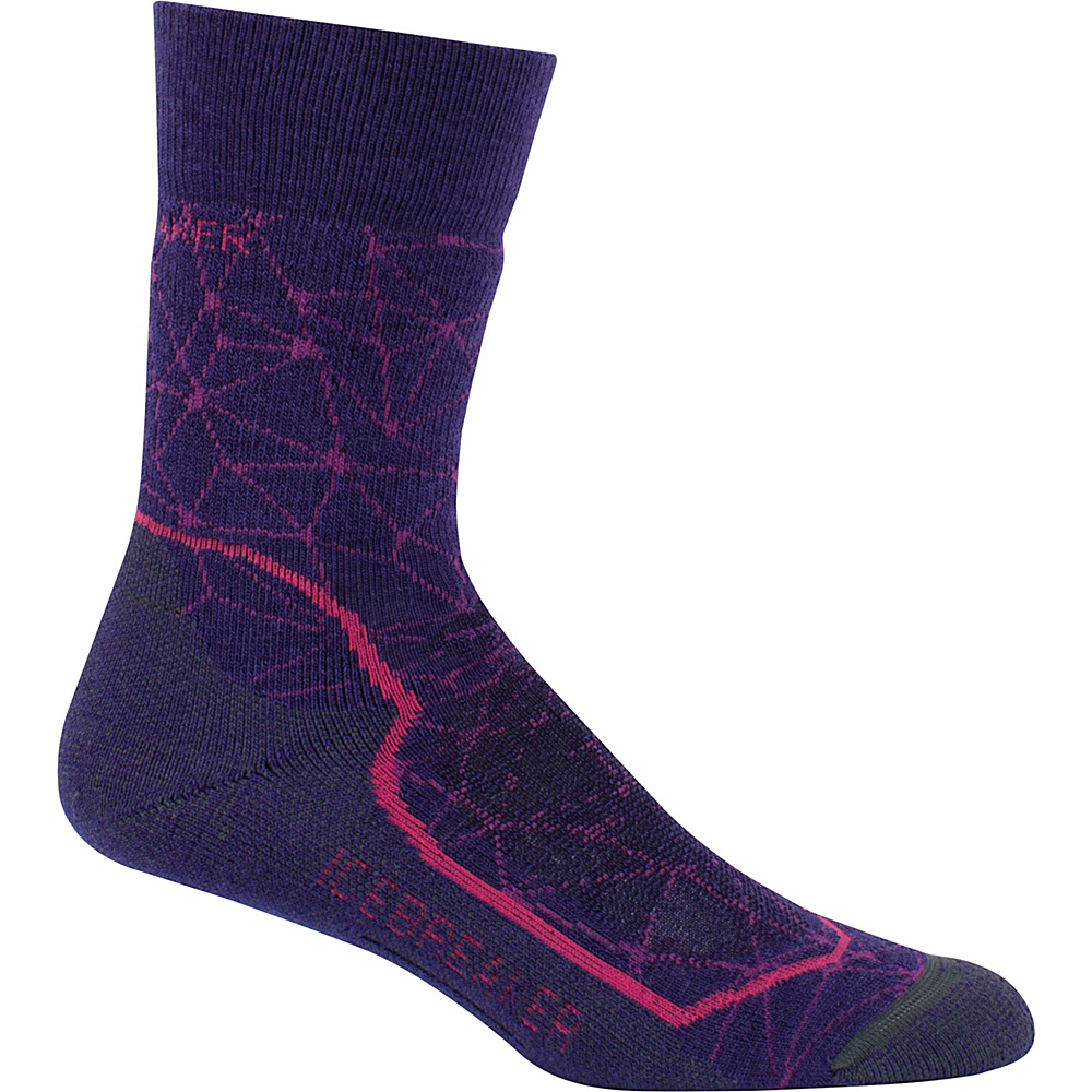Icebreaker Womens Hike+ Medium Crew Sock L - Aura/Cherub/Monsoon - Icebreaker Womens Legwear/Socks - Apparel & Footwear, Women's Legwear/Socks