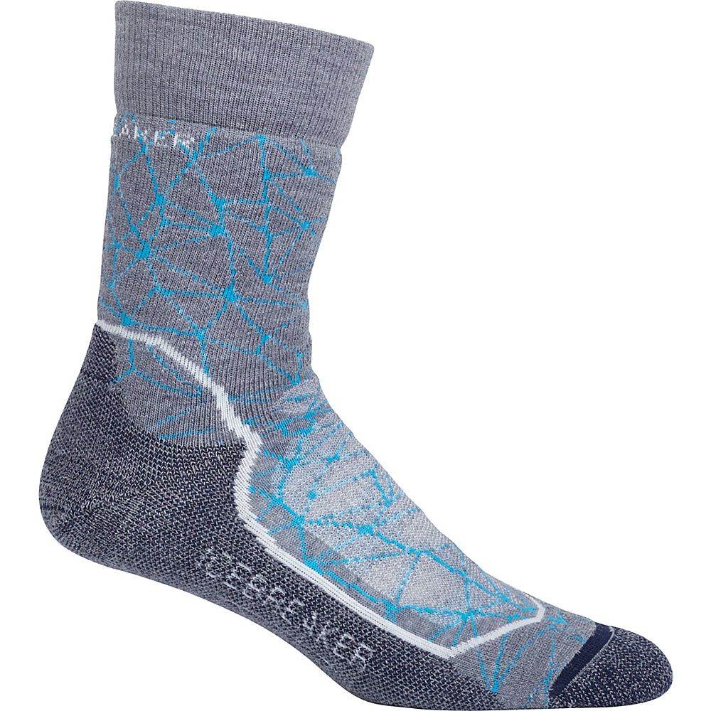 Icebreaker Womens Hike+ Medium Crew Sock L - Twister Heather/Snow/Fathom Heather - Icebreaker Womens Legwear/Socks - Apparel & Footwear, Women's Legwear/Socks