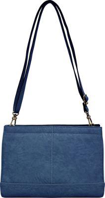 Bueno Veg Tan Convertible Crossbody Medium Blue - Bueno Leather Handbags