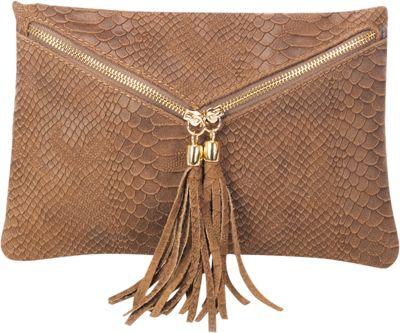 Lisa Minardi Snake Print Clutch Fango - Lisa Minardi Leather Handbags