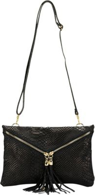 Lisa Minardi Snake Print Clutch Black - Lisa Minardi Leather Handbags