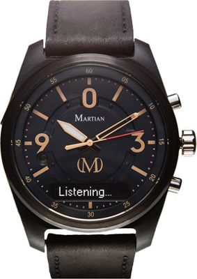 Martian Watches Martian PT 02 Smartwatch Black Dial / Black Case / Black Leather Strap - Martian Watches Wearable Technology