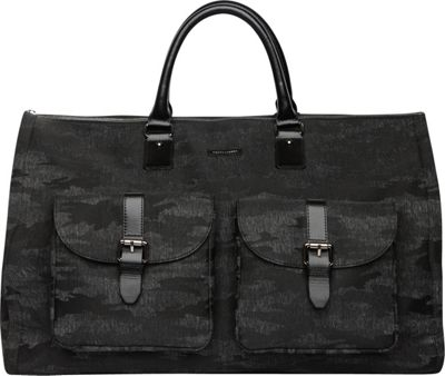 Hook & Albert Melange Fabric Garment Weekender Bag Black Camo - Hook & Albert Travel Duffels
