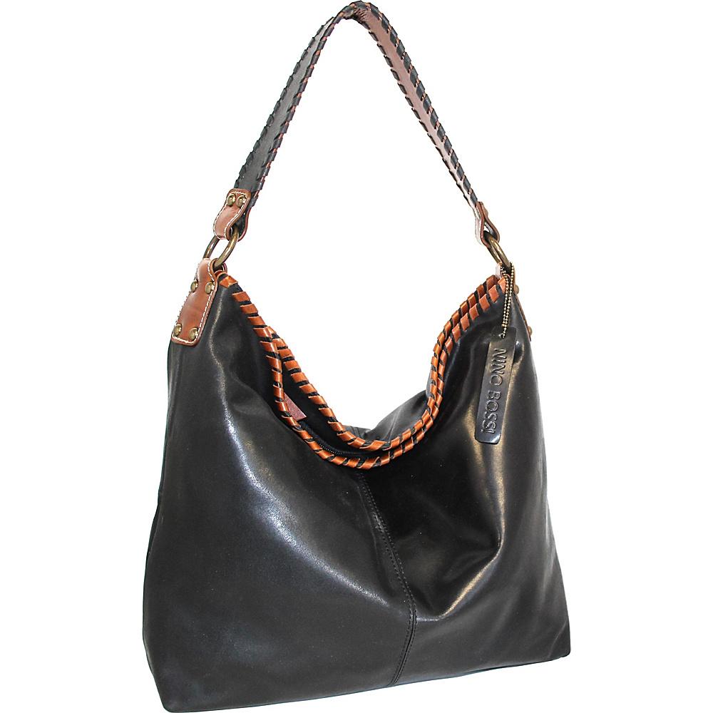 Nino Bossi Octavia Leather Shoulder Bag Black - Nino Bossi Leather Handbags - Handbags, Leather Handbags
