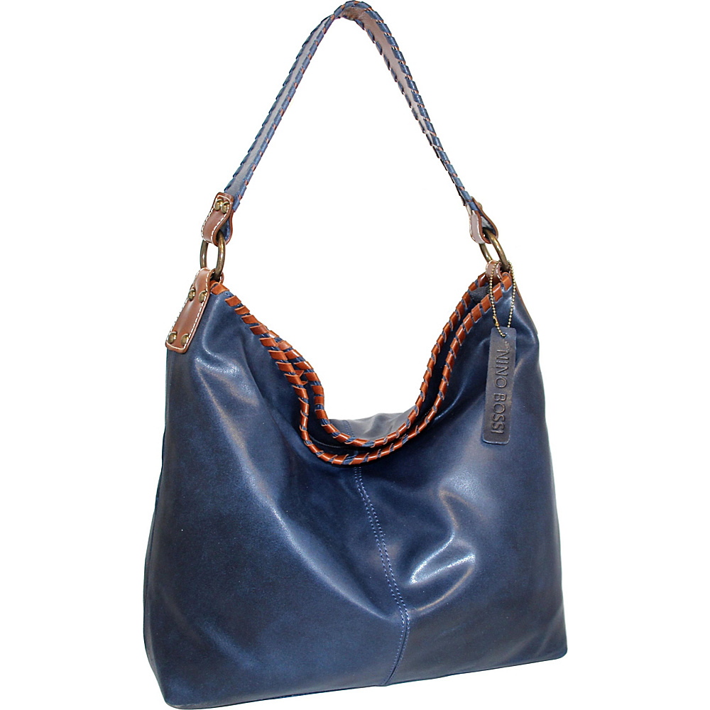 Nino Bossi Octavia Leather Shoulder Bag Denim - Nino Bossi Leather Handbags - Handbags, Leather Handbags