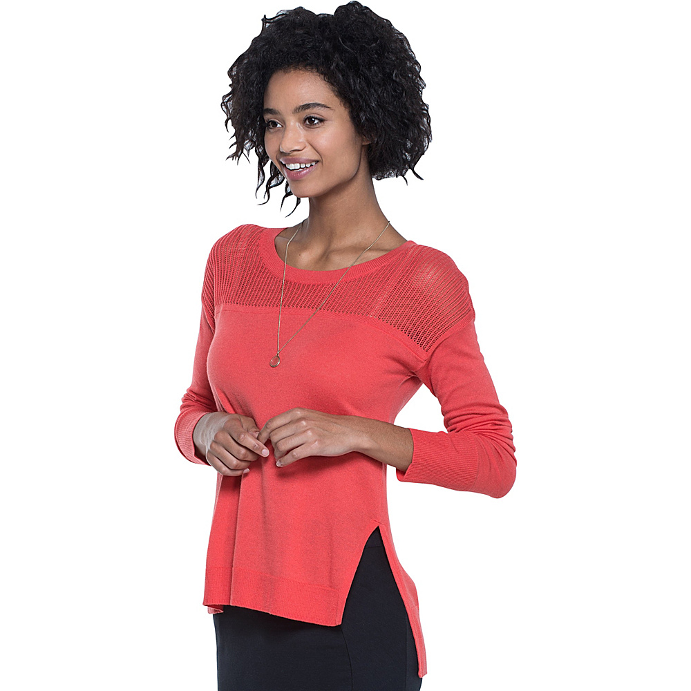 Toad & Co Jacinta Crew Sweater XS - Bright Coral - Toad & Co Womens Apparel - Apparel & Footwear, Women's Apparel