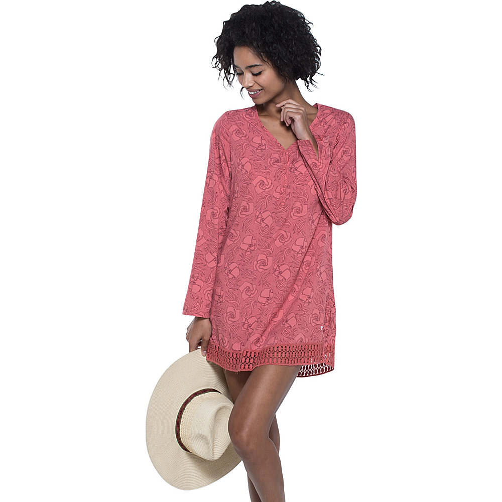 Toad & Co Sunlight Tunic M - Spiced Coral Floral Print - Toad & Co Womens Apparel - Apparel & Footwear, Women's Apparel