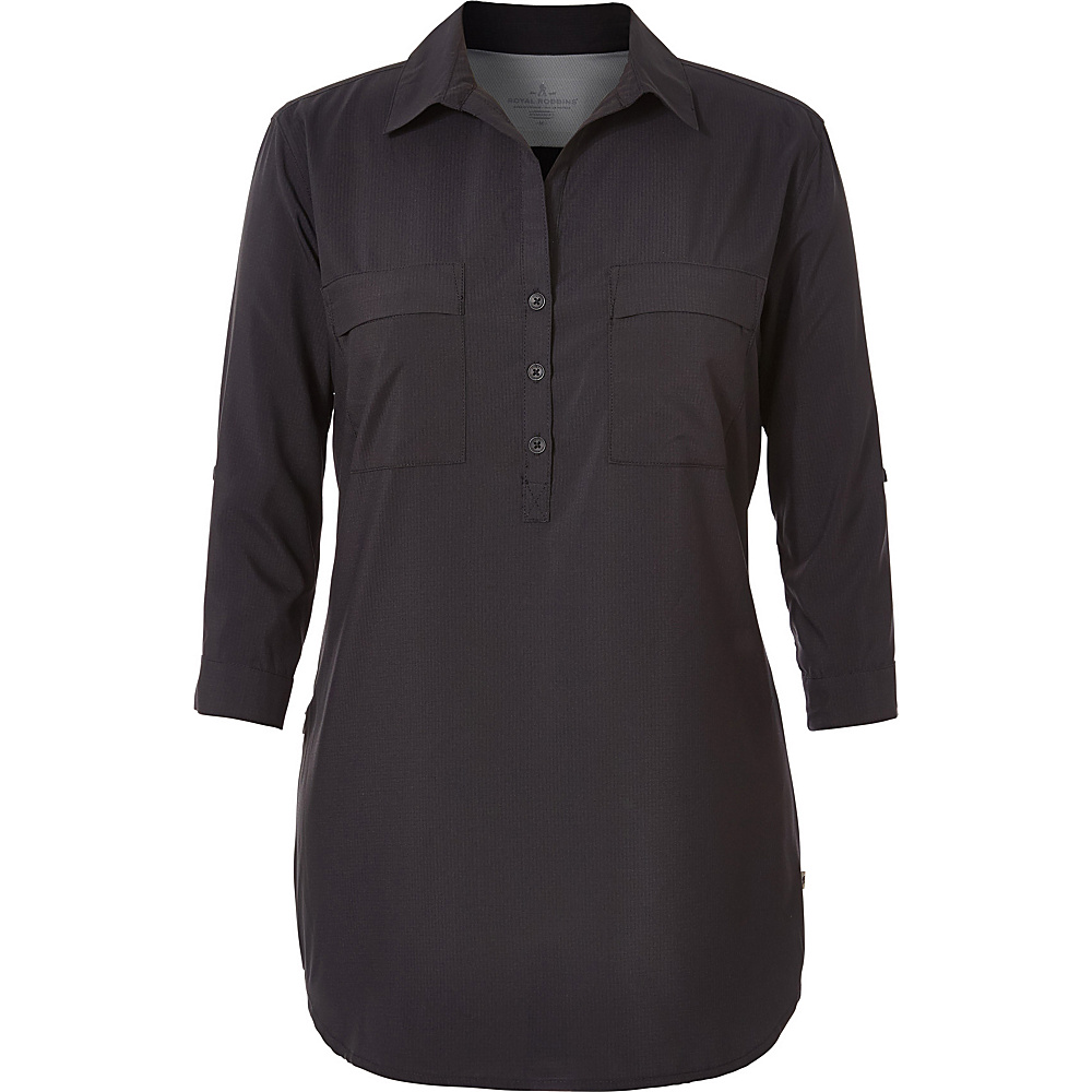 Royal Robbins Womens Expedition Chill Stretch Tunic S - Jet Black - Royal Robbins Womens Apparel - Apparel & Footwear, Women's Apparel