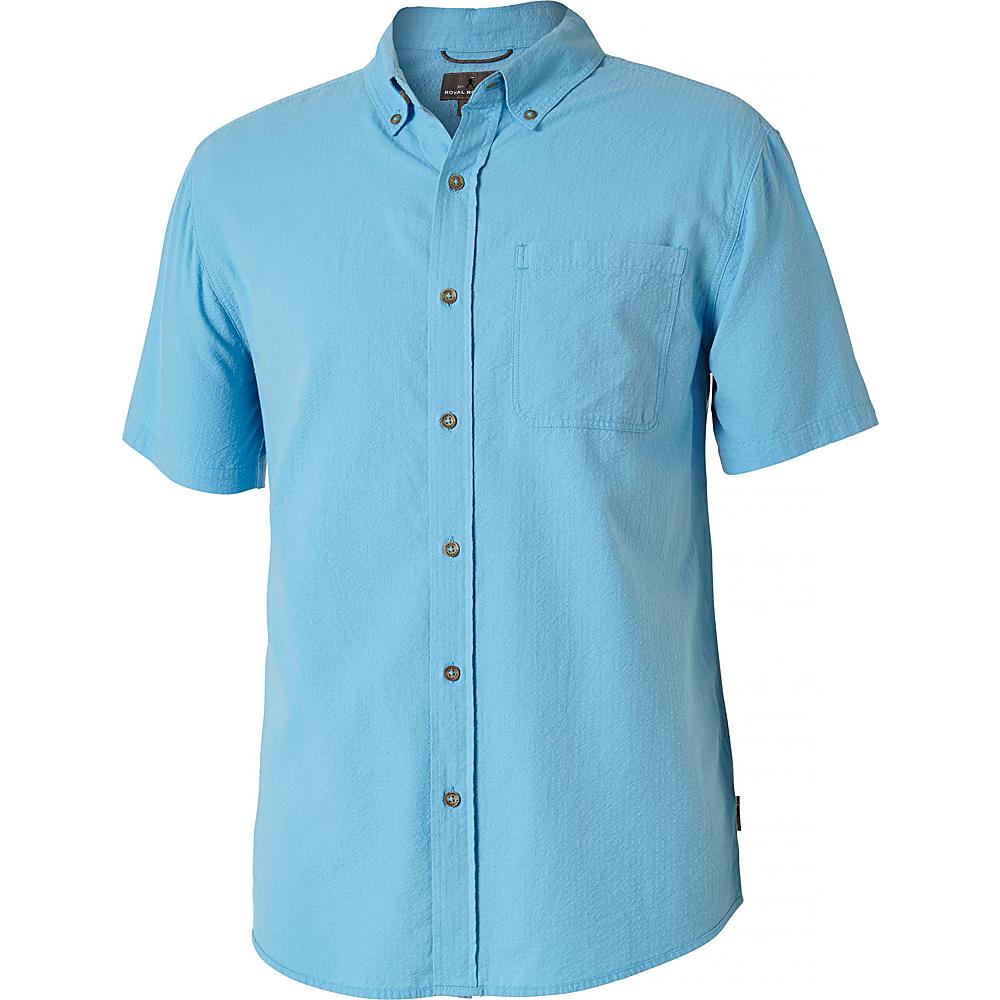 Royal Robbins Mens Mid-Coast Seersucker Short Sleeve Shirt S - Bluejay - Royal Robbins Mens Apparel - Apparel & Footwear, Men's Apparel