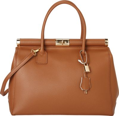Giulia Massari Top Handle Satchel Brown - Giulia Massari Leather Handbags