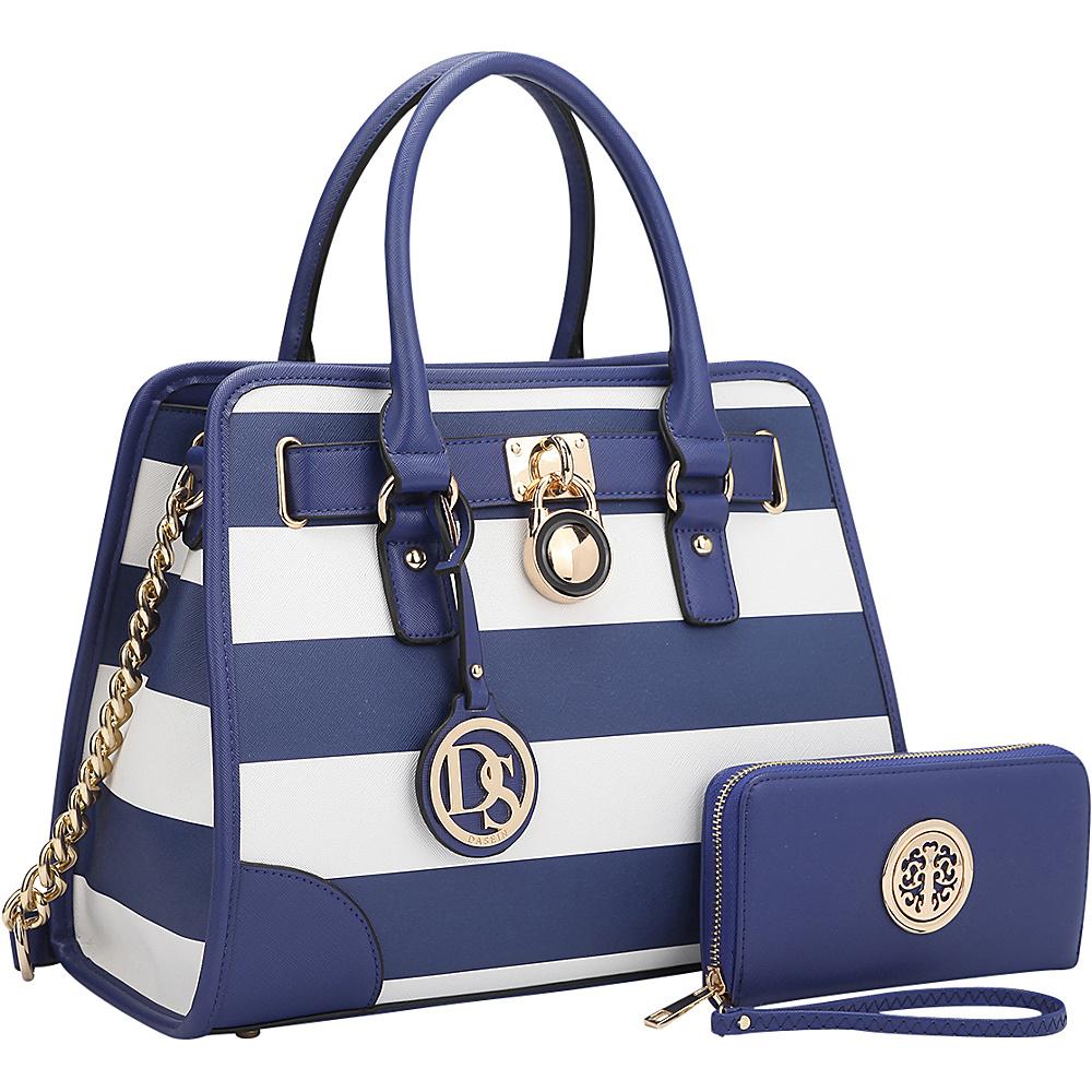 Dasein Stripe Medium Satchel with Matching Wallet Blue/White - Dasein Gym Bags - Sports, Gym Bags