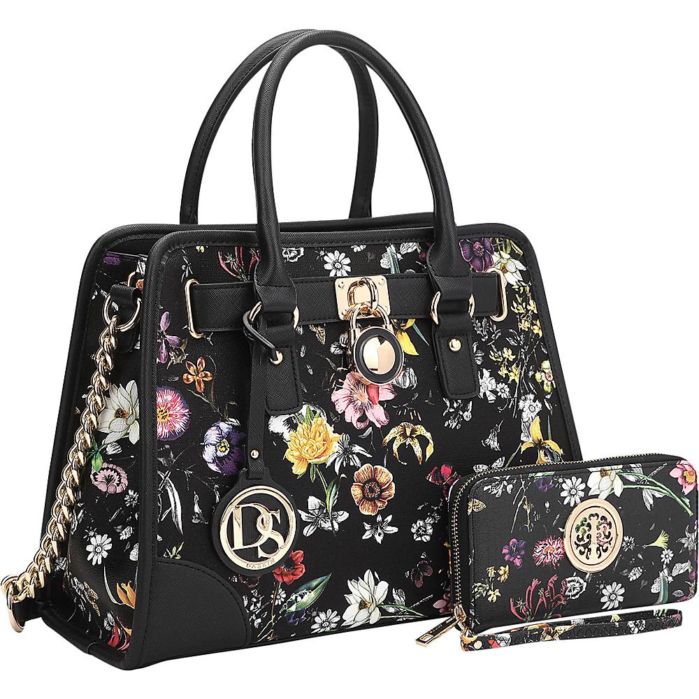 Dasein Stripe Medium Satchel with Matching Wallet Black Flower - Dasein Gym Bags - Sports, Gym Bags