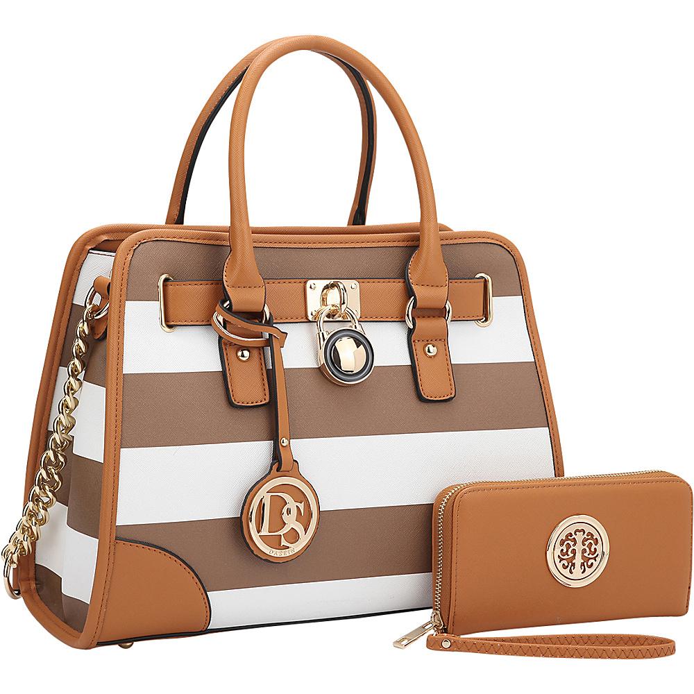 Dasein Stripe Medium Satchel with Matching Wallet Coffee/White - Dasein Gym Bags - Sports, Gym Bags