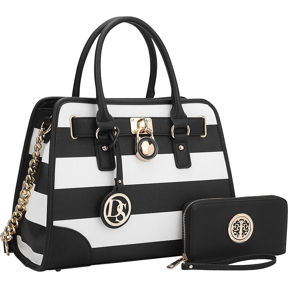 Dasein Stripe Medium Satchel with Matching Wallet Black/White - Dasein Gym Bags - Sports, Gym Bags