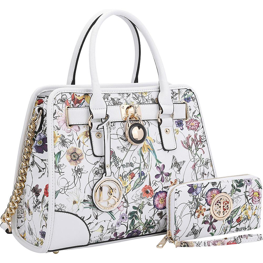 Dasein Stripe Medium Satchel with Matching Wallet White Flower - Dasein Gym Bags - Sports, Gym Bags