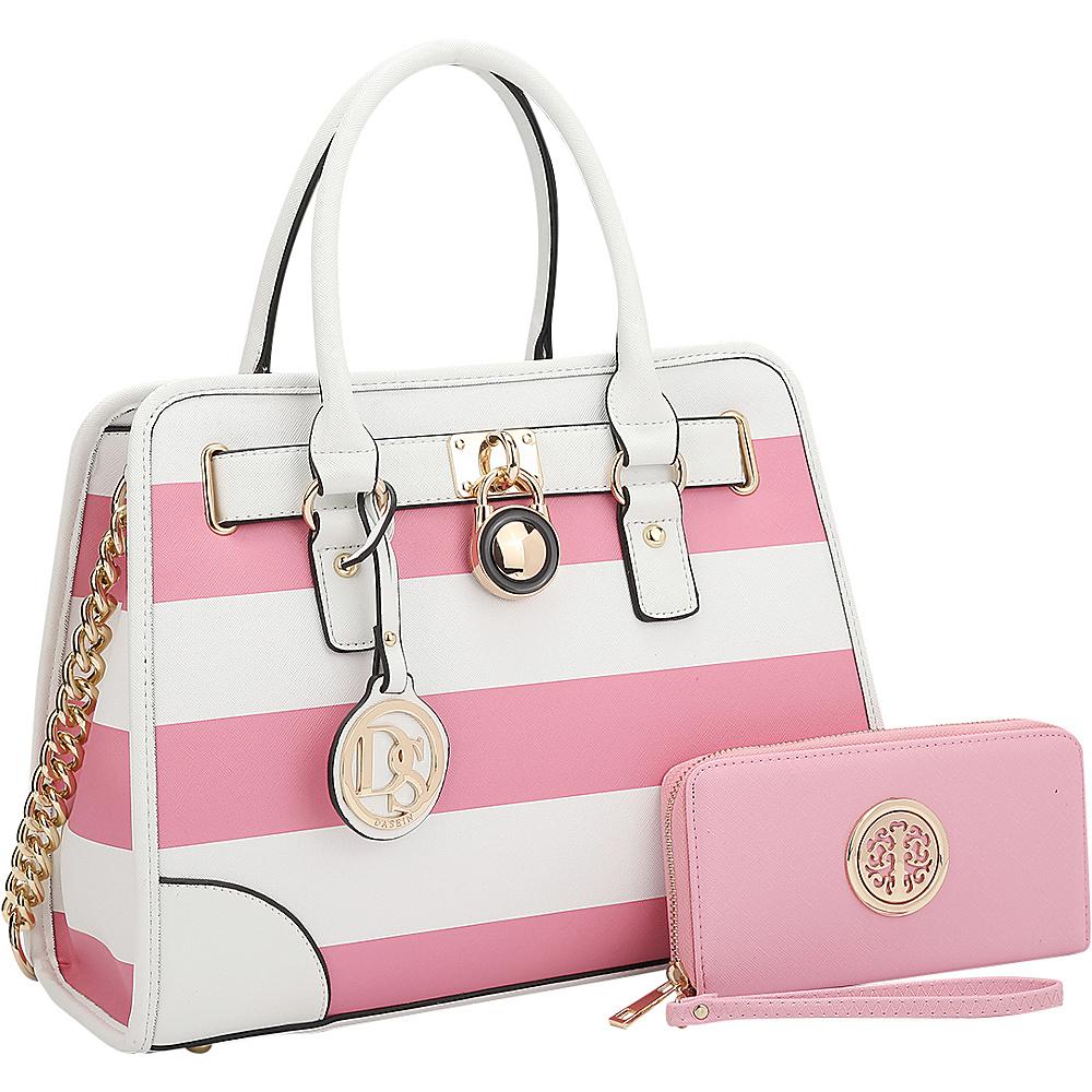 Dasein Stripe Medium Satchel with Matching Wallet Pink/White - Dasein Gym Bags - Sports, Gym Bags