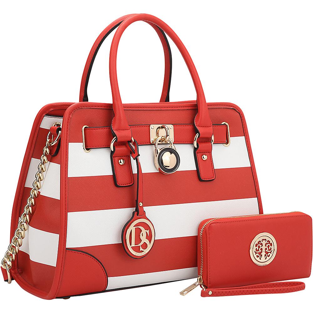 Dasein Stripe Medium Satchel with Matching Wallet Red/White - Dasein Gym Bags - Sports, Gym Bags
