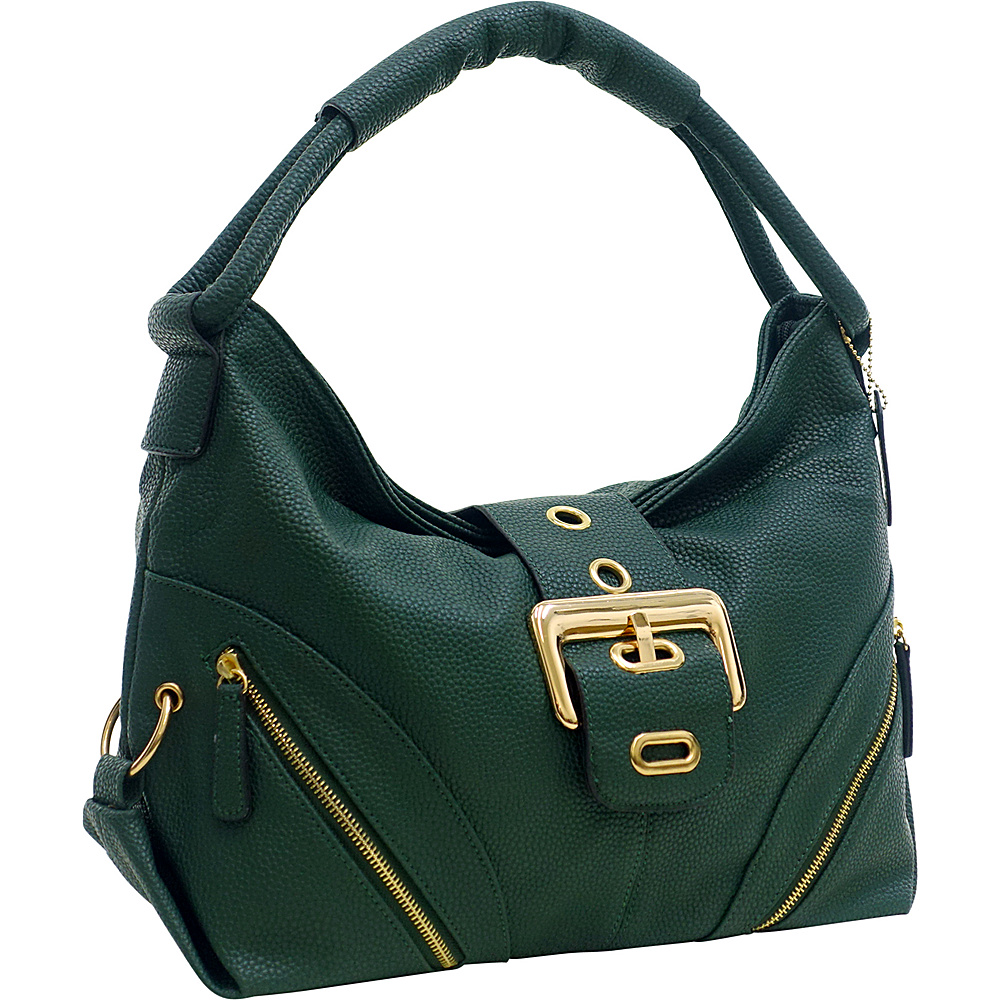Dasein Classic Hobo with Zippered Pockets Deep Green - Dasein Manmade Handbags - Handbags, Manmade Handbags
