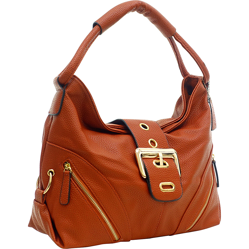 Dasein Classic Hobo with Zippered Pockets Coral Red - Dasein Manmade Handbags - Handbags, Manmade Handbags