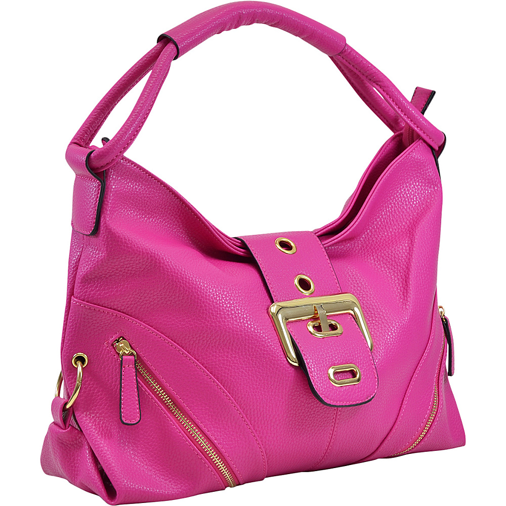 Dasein Classic Hobo with Zippered Pockets Fuchsia - Dasein Manmade Handbags - Handbags, Manmade Handbags